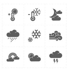 Nine flat modern weather icons vector