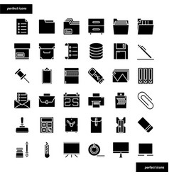 Office supply solid icons set vector