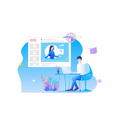 online training flat design a mans character is vector image