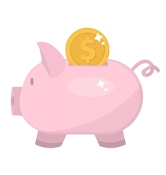 Piggy bank icon flat design Pig moneybox vector image