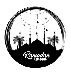 ramadan kareem card with temple building vector image