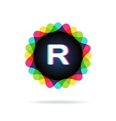 Retro bright colors Logotype Letter R vector