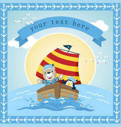 sailing cartoon with cute animals greeting or vector image