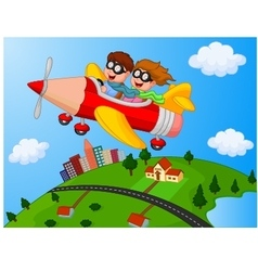 School Children Enjoying airplane pencil vector image vector image