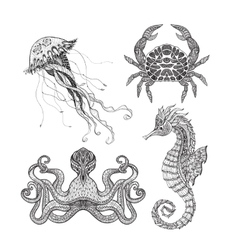 Sea marine doodle set vector