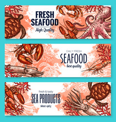 Seafood product sketch banner set for food design vector