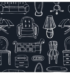 seamless patterndoodle sketch furniture vector image