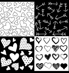seamless patterns for valentines day set of 4 vector image