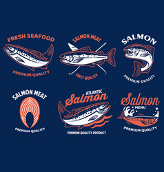 set bundle salmon seafood badge vector image