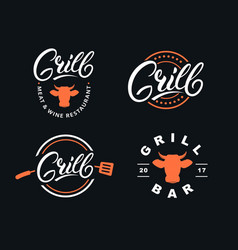 set hand written lettering grill logo vector image