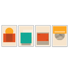 set minimalistic geometric art posters with vector image
