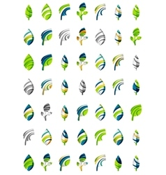 Set of abstract eco leaf icons business logotype vector image