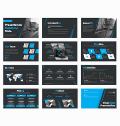 Set of black slides with blue design elements vector