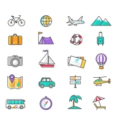 Set Thin Lines Icons of Traveling vector image