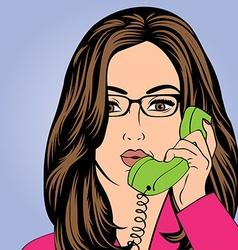 Sexy beautiful woman chatting at retro phone vector