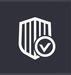 Shield with check mark icon vector