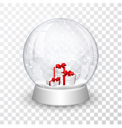 Snow globe ball with gift boxes realistic new vector