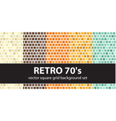 square pattern set retro 70s seamless tile vector image