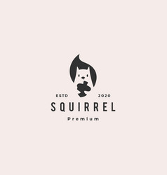 squirrel logo hipster vintage retro icon is vector image