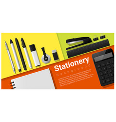 Stationery scene with set office supplies vector