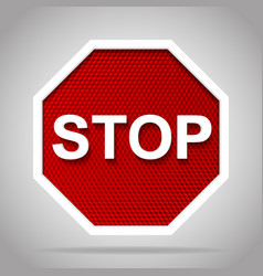 Stop road sign with white frame on red reflective vector