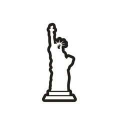 stylish black and white icon American Statue of vector image