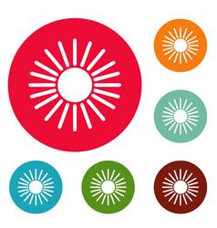 sun icons circle set vector image