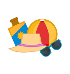 suncreen summer hat beach ball and sunglasses vector image