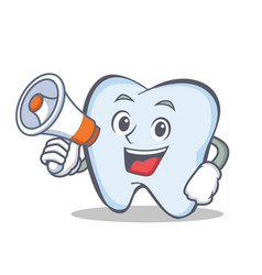 Tooth character cartoon style with megaphone vector