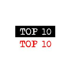 Top 10 ten rubber stamp badge with typewriter set vector