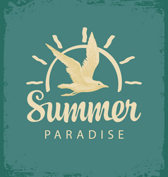 travel banner with gull and sun summer paradise vector image