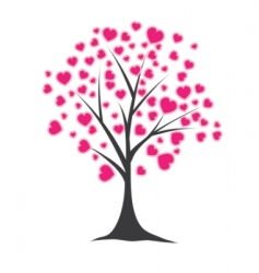 tree with hearts vector illustration vector image