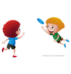 Two boys playing frisbee vector