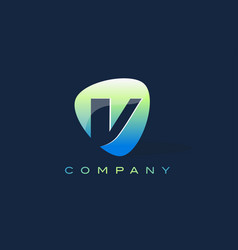 V letter logo oval shape modern design vector