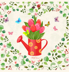 vintage can watering with bouquet of tulips and vector image