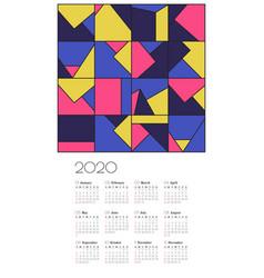 wall calendar 2020 design template vector image