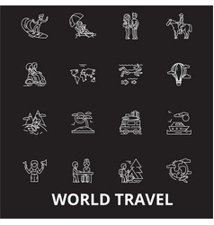 world travel editable line icons set on vector image