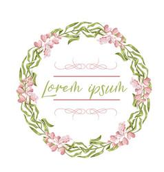 wreath floral frame watercolor flowers peonies vector image