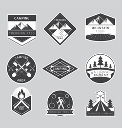 Camping Label and Badge Monochrome Style vector image