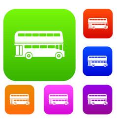 Double decker bus set collection vector