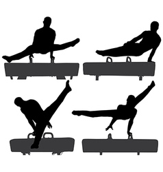 Gymnast on Pommel Horse Silhouette vector image vector image
