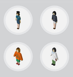 isometric person set of doctor policewoman lady vector image