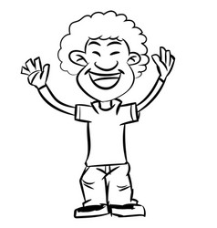 line drawing cartoon afro boy smiling - vector image vector image