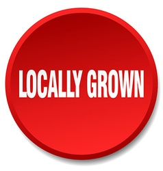 locally grown red round flat isolated push button vector image