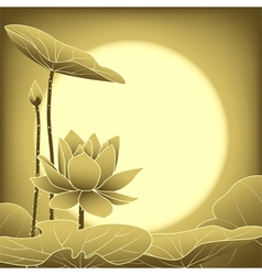 Oriental Mid Autumn Festival Lotus Flower vector image vector image
