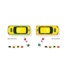 people waiting and getting on taxi vector image vector image