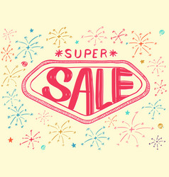 super sale with sparkles drawing style vector image