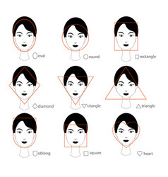 woman face types on white background vector image