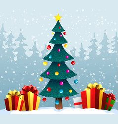 holiday background with a blue christmas tree and vector image vector image