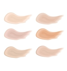 Realistic bb cream strokes set Multicolored vector image vector image